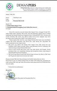Surat Dewan Pers Kepada Pemimpin Redaksi Butota.id